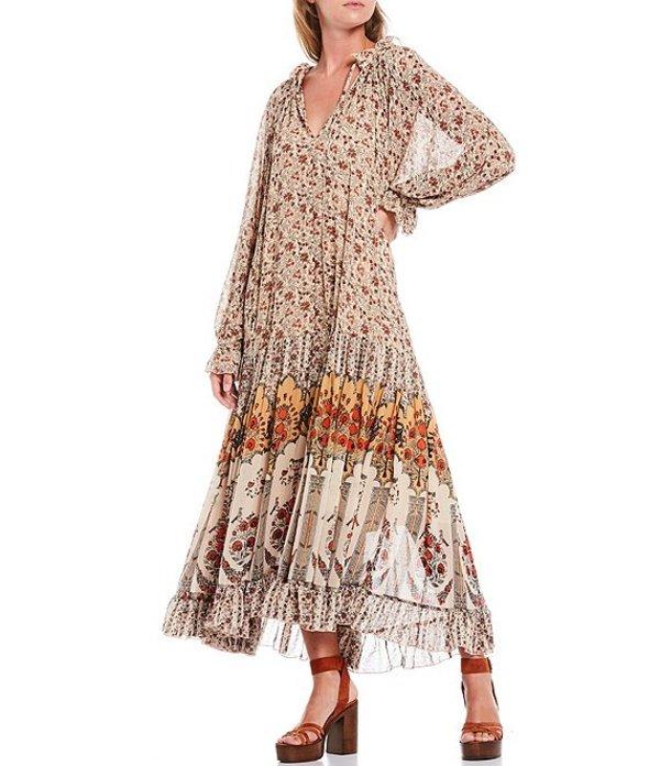 フリーピープル レディース ワンピース トップス Feeling Groovy Floral Print Long Sleeve Midi Dress Sand Combo