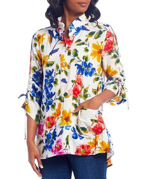 ジョン マーク レディース シャツ トップス Crinkle Floral Print Front Pocket Button Front Cinched Sleeve Tunic Multi Floral