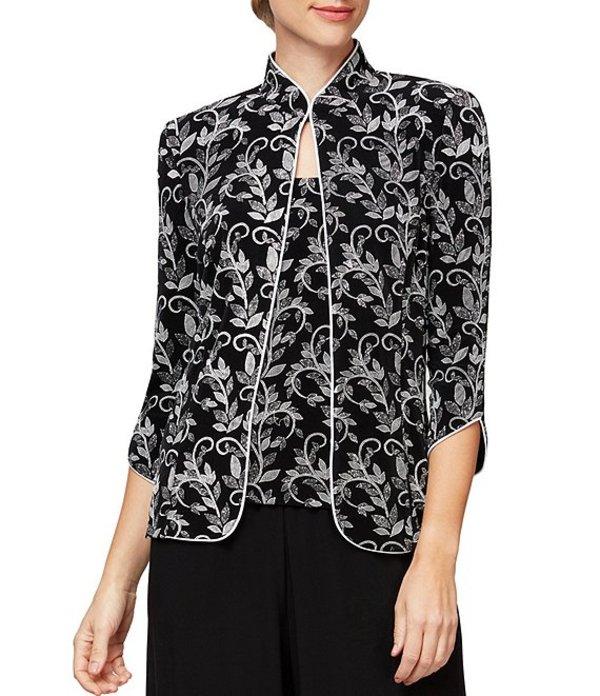 アレックスイブニングス レディース ワンピース トップス Printed Mandarin Collar Two Piece Twinset Black/White