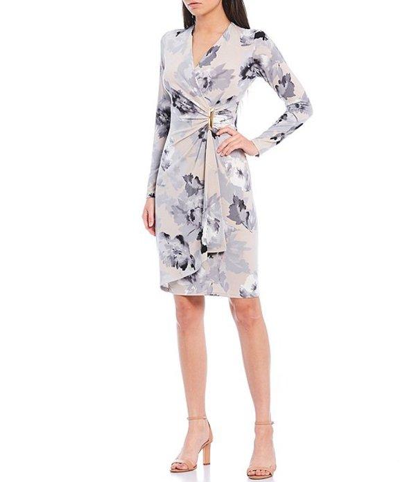 カルバンクライン レディース ワンピース トップス Floral Print Matte Jersey Faux Wrap Long Sleeve Dress Khaki Multi