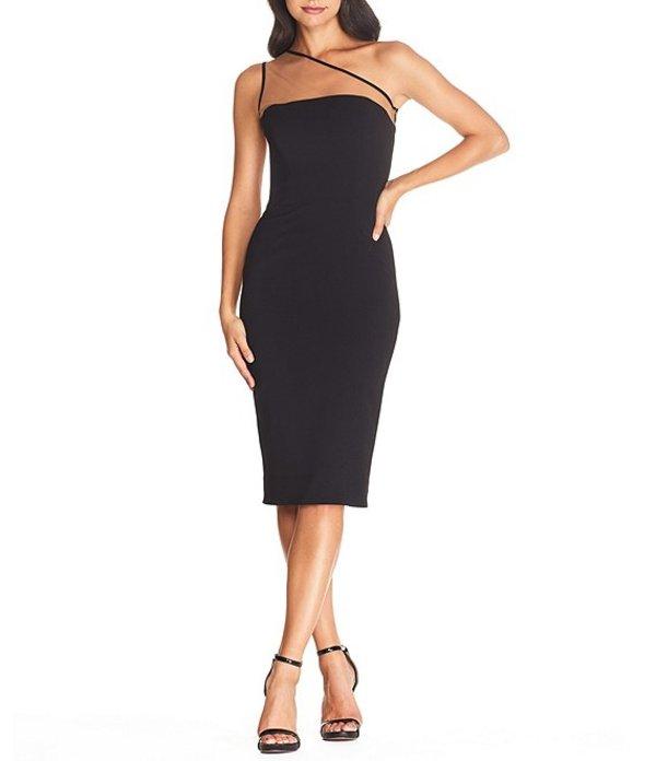 ドレスザポプレーション レディース ワンピース トップス Rayna Illusion One Shoulder Midi Crepe Sheath Dress Black