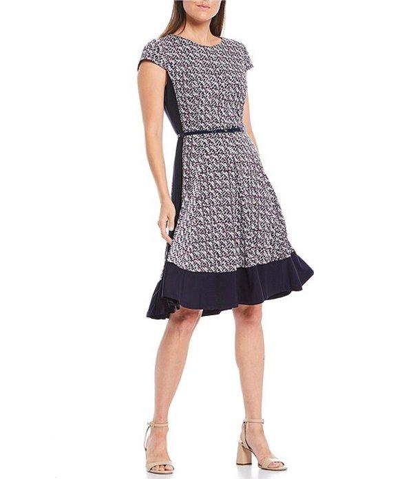 ジェシカハワード レディース ワンピース トップス Cap Sleeve Belted Jersey A-Line Dress Navy/Plum