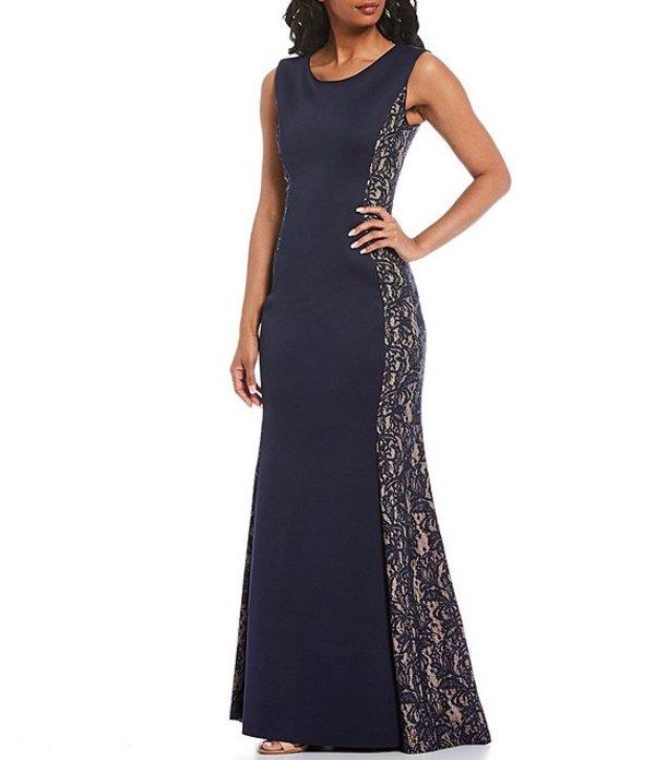 ジェシカハワード レディース ワンピース トップス Illusion Side Lace Scuba Crepe Sleeveless Mermaid Gown Navy/Tan