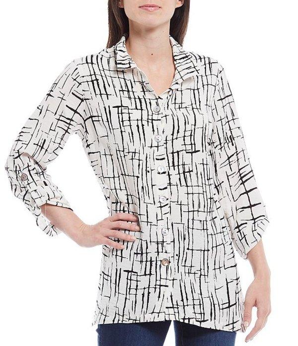 ジョン マーク レディース シャツ トップス Crinkle Print Wire Collar Roll-Tab Sleeve Button Front Blouse Black/White