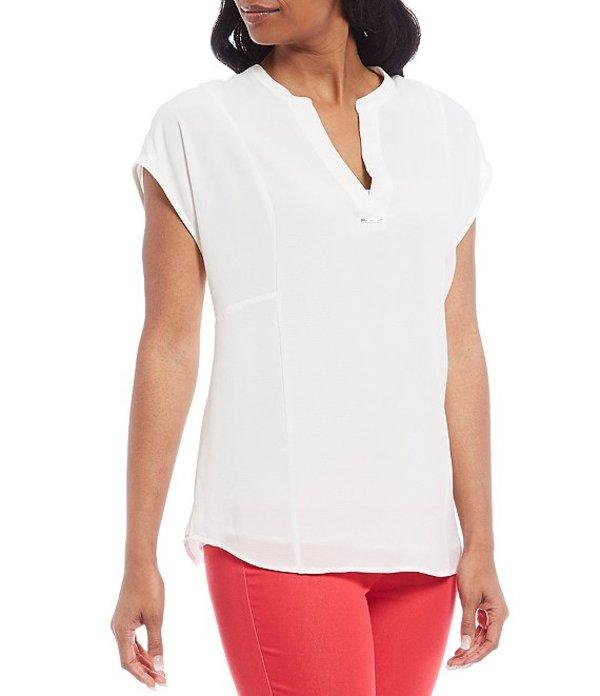 カルバンクライン レディース シャツ トップス Solid Textured Georgette Banded Split V-Neck Short Dolman Sleeve Top Soft White
