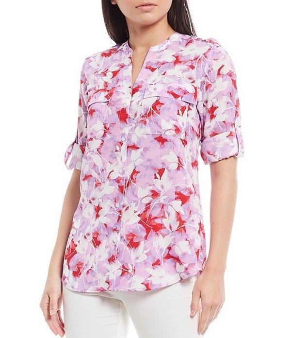 カルバンクライン レディース シャツ トップス Floral Blossom Print Crepe de Chine Roll-Tab Sleeve Top Wisteria/Red Multi