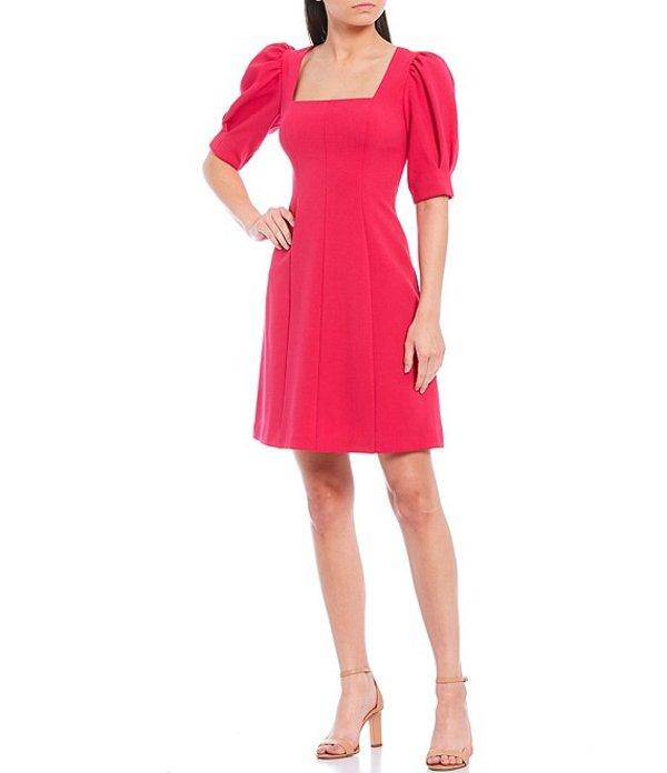エリザジェイ レディース ワンピース トップス Square Neck Puff Sleeve Crepe A-Line Dress Fuchsia