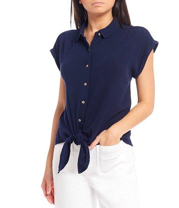 ダニエル クレミュ レディース シャツ トップス Leigh Gauze Short Sleeve Button-Front Tie Hem Top Navy