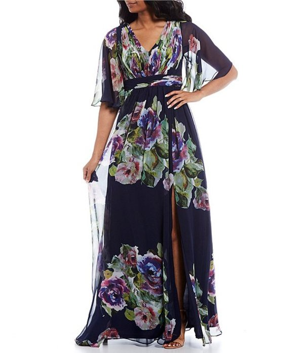 アドリアナ パペル レディース ワンピース トップス V-Neck Flutter Sleeve Floral Print Chiffon Gown Navy Multi