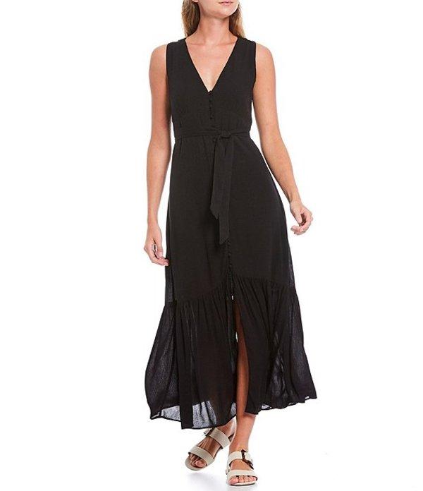 サンクチュアリー レディース ワンピース トップス Perfect Melody V-Neck Sleeveless Tie Waist Midi Dress Black