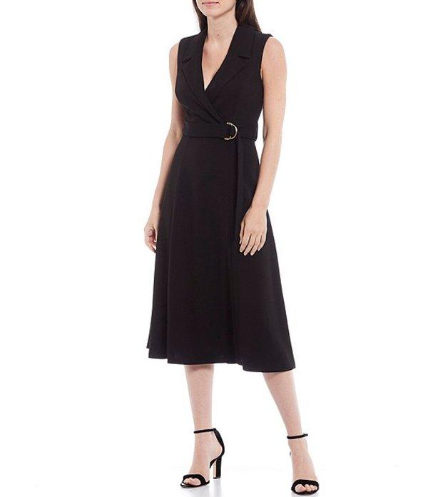 カルバンクライン レディース ワンピース トップス Sleeveless Belted Collard Crepe Midi Dress Black