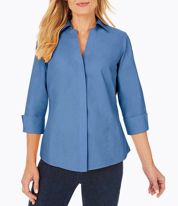 フォックスクラフト レディース シャツ トップス Taylor Solid Pinpoint Oxford Non-Iron Fitted Button Front Shirt Mountain Blue