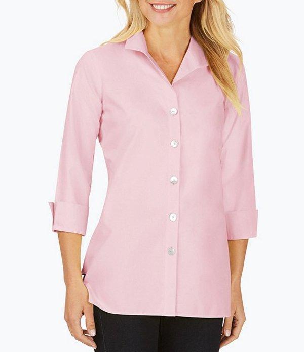 フォックスクラフト レディース シャツ トップス Pandora Solid Non-Iron Pinpoint Oxford Button Front Tunic Cabana Pink