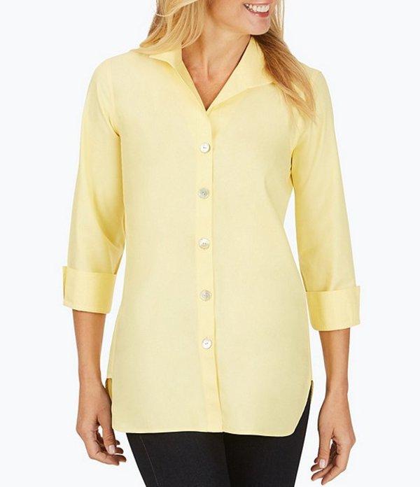 フォックスクラフト レディース シャツ トップス Pandora Solid Non-Iron Pinpoint Oxford Button Front Tunic Sunbeam