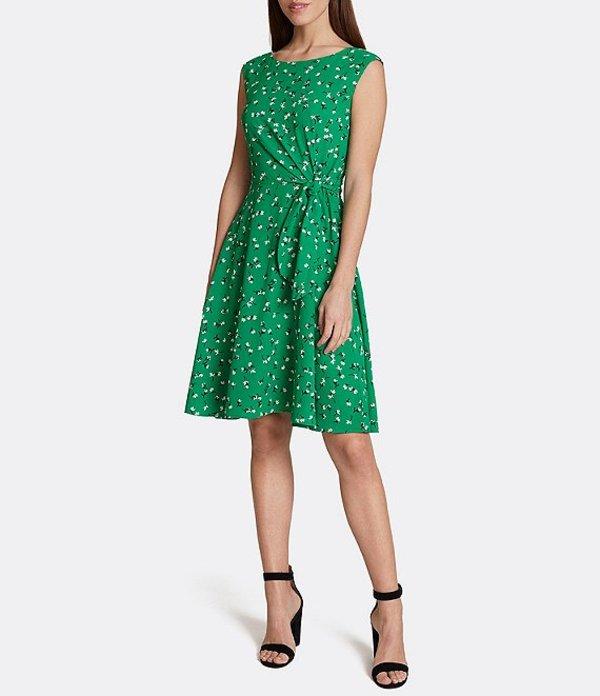 タハリエーエスエル レディース ワンピース トップス Floral Side Tie Sleeveless Stretch Crepe Dress Green Juice Floral