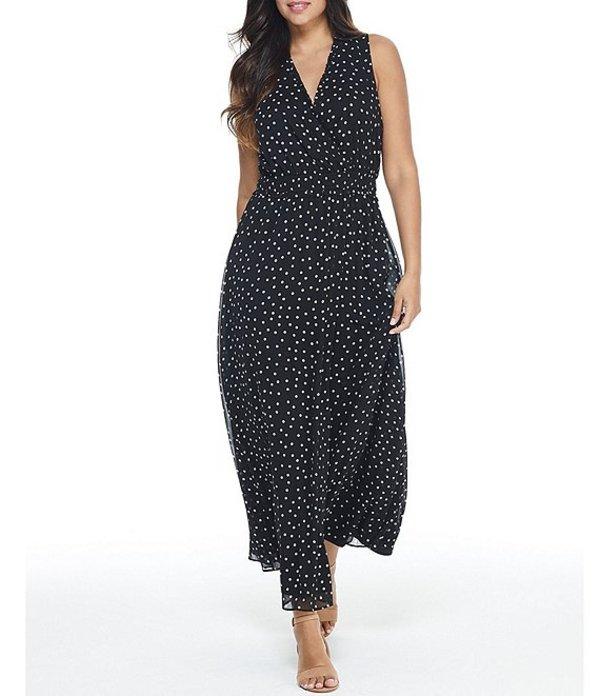 ロンドンタイムス レディース ワンピース トップス V-Neck Sleeveless Polka Dot A-Line Maxi Dress Black/White