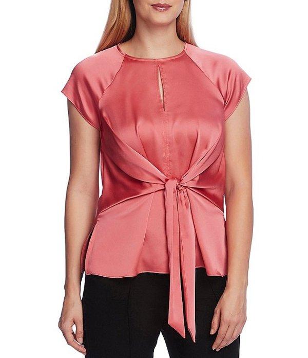 ヴィンスカムート レディース シャツ トップス Raglan Cap Sleeve Tie Front Keyhole Neck Blouse Coral Blossom