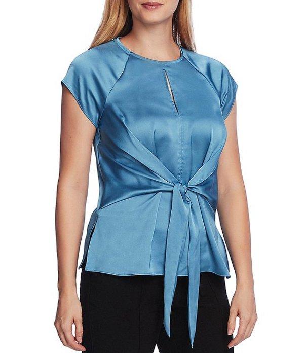 ヴィンスカムート レディース シャツ トップス Raglan Cap Sleeve Tie Front Keyhole Neck Blouse Rapture Blue