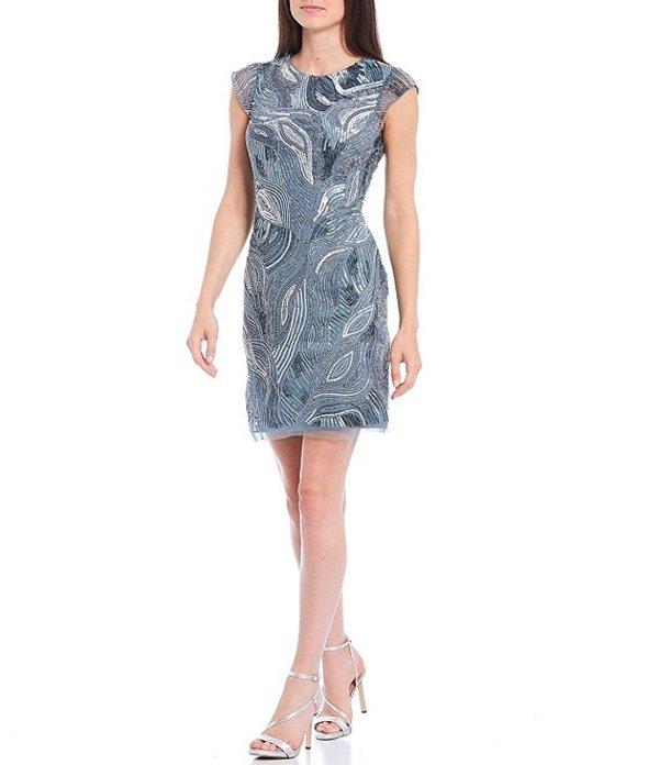 アイダンマットックス レディース ワンピース トップス Cap Sleeve Beaded Mesh Cocktail Dress Smoke