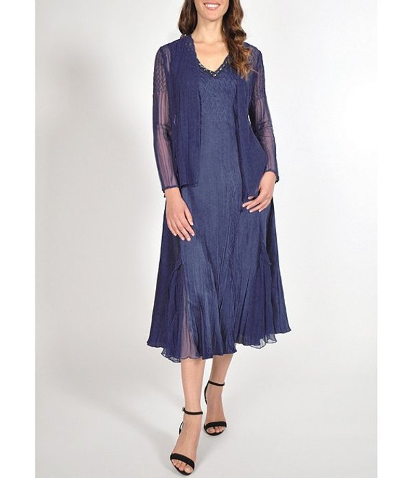 コマロフ レディース ワンピース トップス Two Piece Chiffon Jacket Charmeuse Midi Dress Midnight Navy