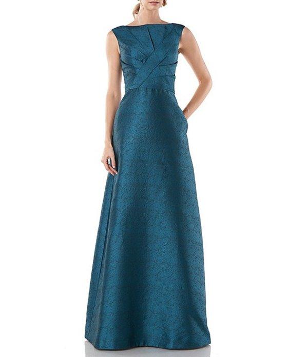 ケイ アンジャー レディース ワンピース トップス Marla Pleated Textured Jacquard Sleeveless Ball Gown Turkish Blue