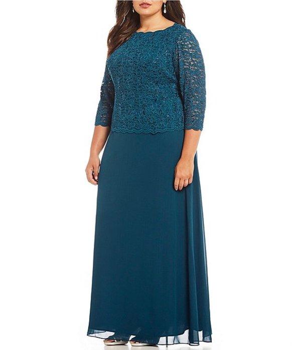 アレックスイブニングス レディース ワンピース トップス Plus Lace Bodice Mock 2-Fer Dress Peacock