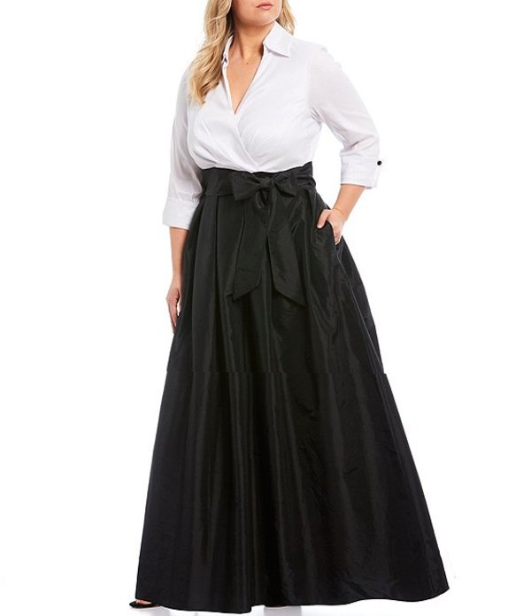 ジェシカハワード レディース ワンピース トップス Plus Size Color Block Notch Collar Taffeta Ballgown White/Black