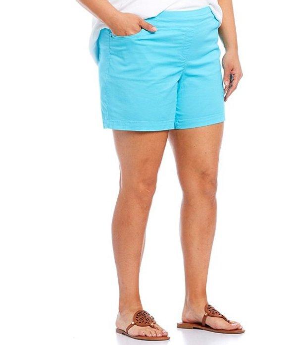 ウエストバウンド レディース ハーフパンツ・ショーツ ボトムス Plus Size the PARK AVE fit Flat Front Shorts Blue Curacao