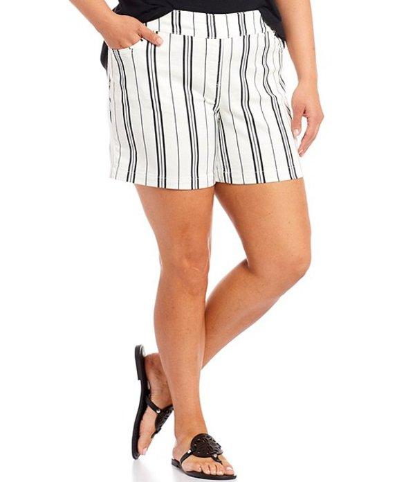 ウエストバウンド レディース ハーフパンツ・ショーツ ボトムス Plus Size Black/White Stripe the PARK AVE fit Shorts Black/White Stripe