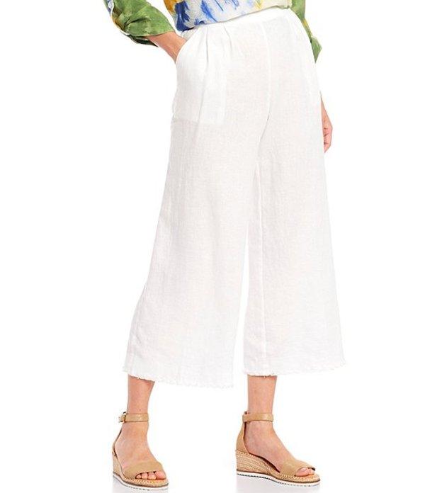 ジョン マーク レディース カジュアルパンツ ボトムス Linen Pull-on Frayed Wide Leg Crop Pant White