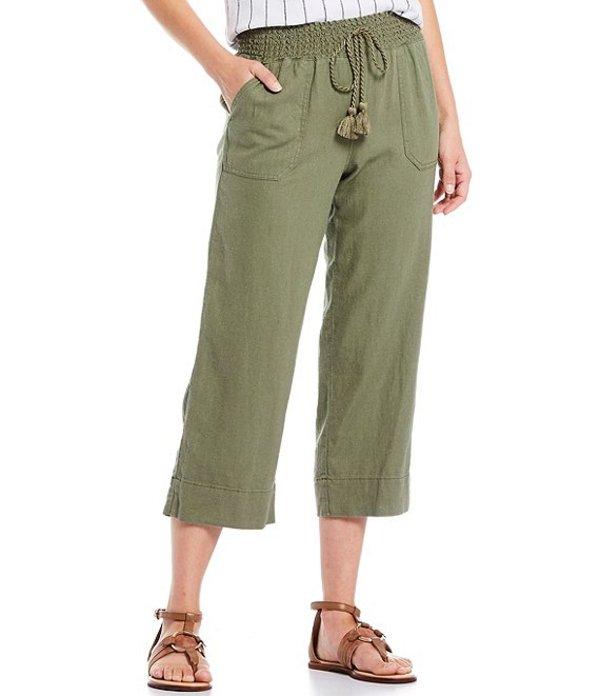 ウエストバウンド レディース カジュアルパンツ ボトムス Wide Leg Linen Capri Pant Deep Lichen Green