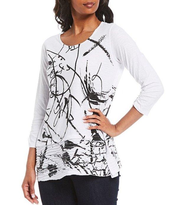 アリ マイルス レディース Tシャツ トップス Abstract Print Knit Cotton Slub 3/4 Sleeve Top Black Print