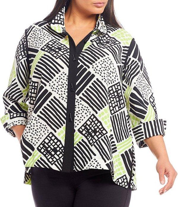 アリ マイルス レディース ジャケット・ブルゾン アウター Plus Size 3/4 Sleeve Crinkle Geometric Print Novelty Button Down Jacket Lime