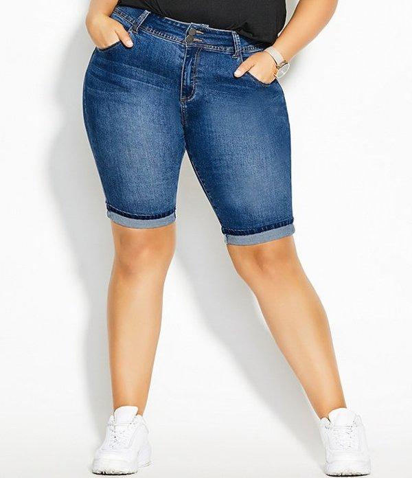 シティーシック レディース ハーフパンツ・ショーツ ボトムス Plus Size High Rise Roll Up Shorts Mid Denim