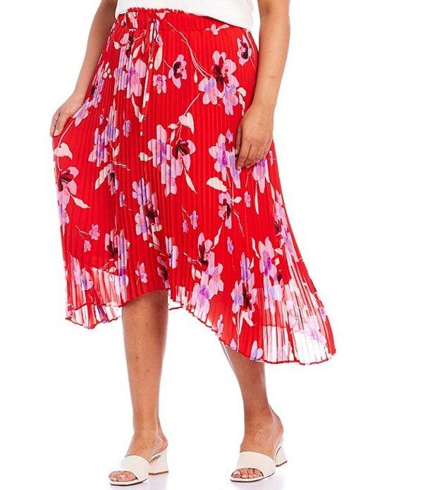 送料無料 サイズ交換無料 カルバンクライン レディース 10%OFF ボトムス スカート Watermelon Wisteria Multi 数量限定アウトレット最安価格 Pleated Size Skirt Pull-On Floral Print High-Low Plus