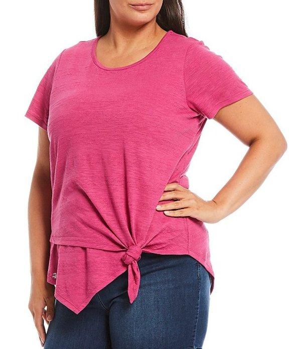 ウエストバウンド レディース Tシャツ トップス Plus Size Short Sleeve Asymmetric Tie Front Cotton Blend Top Fuchsia Red