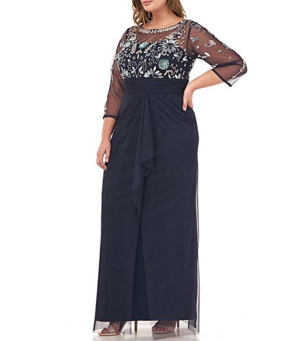 ジェイエスコレクションズ レディース ワンピース トップス Plus Size Beaded Illusion Bodice 3/4 Sleeve Gown Navy/Mint