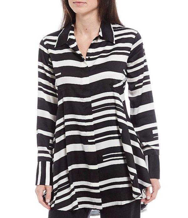 ダナキャラン レディース シャツ トップス New York Long Cuffed Sleeve Stripe Matte Sateen Hi-Low Tunic Black Multi