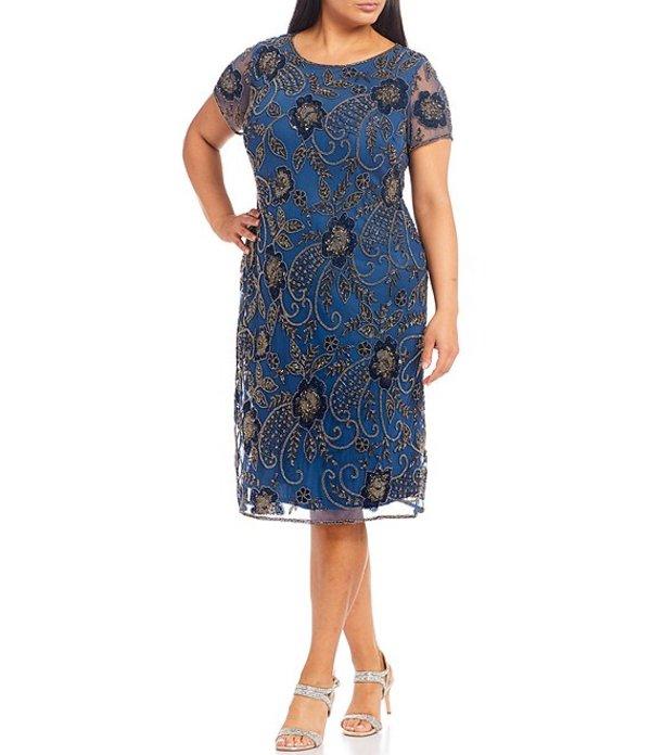 ピサッロナイツ レディース ワンピース トップス Plus Size Short Floral Beaded Midi Sheath Dress Petrol Blue