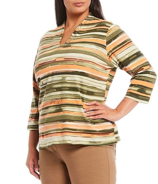 ルビーアールディー レディース Tシャツ トップス Plus Size Watercolor Stripe Print Knit Embellished Funnel Neck Cotton Blend Top Thyme Multi