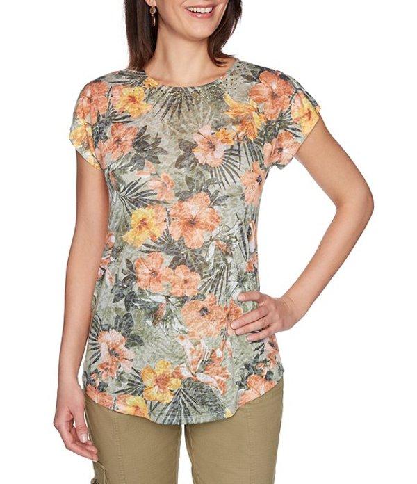 ルビーアールディー レディース Tシャツ トップス Petite Size Embellished Crew Neck Botanical Print Split Sleeve Knit Top Olive Multi