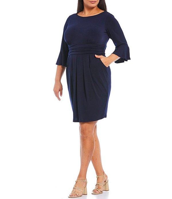 エリザジェイ レディース ワンピース トップス Plus Size 3/4 Bell Sleeve Ruched Jersey Sheath Dress Navy