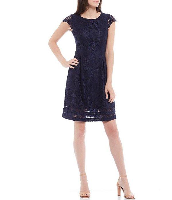 ジェシカハワード レディース ワンピース トップス Petite Size Cap Sleeve Lace Fit & Flare Dress Navy