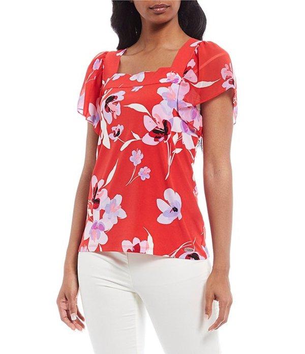 カルバンクライン レディース Tシャツ トップス Tossed Floral Print Mixed Media Square Neck Short Sleeve Top Watermelon/Wisteria Multi