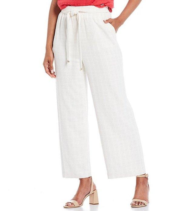カルバンクライン レディース カジュアルパンツ ボトムス Textured Stripe Woven Belted Paperbag Waist Cropped Wide-Leg Pants Soft White/Lattte