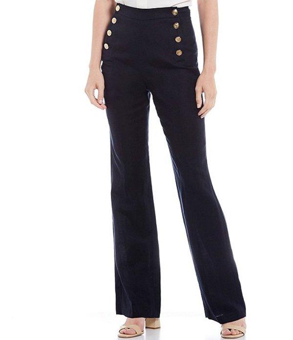 カルバンクライン レディース カジュアルパンツ ボトムス Linen-Blend Side Button Wide-Leg Pants Navy