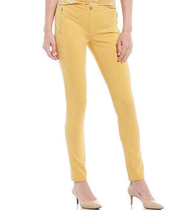 カルバンクライン レディース カジュアルパンツ ボトムス Scuba Crepe Zip Pocket Slim Skinny Leg Pants Ochre