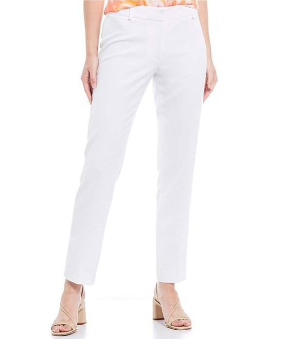 カルバンクライン レディース カジュアルパンツ ボトムス Stretch Twill Suiting Slim Straight-Leg Pants White