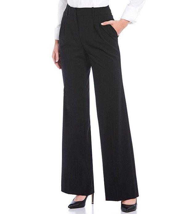 カルバンクライン レディース カジュアルパンツ ボトムス Lux Stretch Suiting Pleat Front Wide-Leg Pants Black