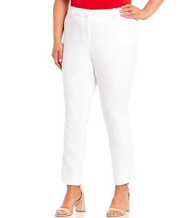 カルバンクライン レディース カジュアルパンツ ボトムス Plus Size Stretch Twill Suiting Slim-Leg Pants White